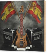 Rock N Roll Crest- Spain Wood Print by Frederico Borges