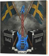 Rock N Roll Crest- Sweden Wood Print by Frederico Borges