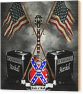 Rock N Roll Crest- Usa Wood Print by Frederico Borges