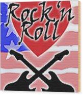 Rock N Roll Stars N Stripes Wood Print