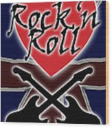 Rock N Roll Union Jack Wood Print