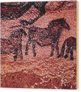 Rock Painting Of Tarpans Ponies, C.17000 Bc Cave Painting Wood Print
