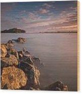 Rock Peninsula In Humboldt Bay Wood Print