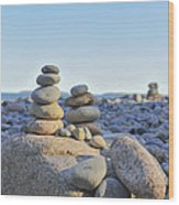 Rock Piles Zen Stones Little Hunters Beach Maine Wood Print