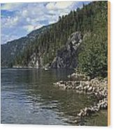 Rock Pools On Christina Lake Wood Print