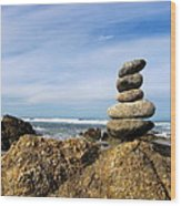Rock Sculpture At The Beach Wood Print
