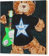 Rock Star Teddy Bear Wood Print