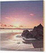 Rock Sunset 03 Wood Print