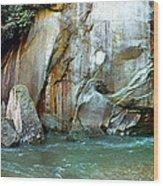 Rock Wall And River Wood Print