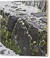 Rock Wall With Moss And A Dusting Of Snow Art Prints Wood Print