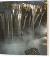 Rock Waterfall Wood Print