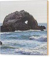 Heart Rock Near San Francisco Ca Cliff House Wood Print