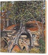Rock Wolf Den Wood Print