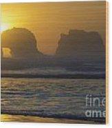 Rockaway Beach Oregon Turning The Sky To Gold Wood Print