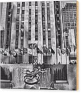 Rockefeller Center Black And White Wood Print