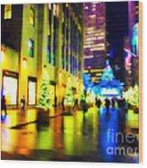 Rockefeller Center Christmas Trees - Holiday And Christmas Card Wood Print