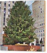 Rockefeller Tree Wood Print