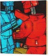 Rockem Sockem Robots - Color Sketch Style - Version 1 Wood Print