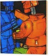 Rockem Sockem Robots - Color Sketch Style - Version 3 Wood Print