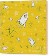 Rocket Science Yellow Wood Print