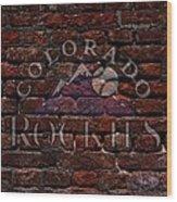 Rockies Baseball Graffiti On Brick  Wood Print by Movie Poster Prints