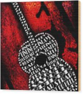Rockin Guitar In Red Typography Wood Print