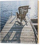 Rocking Chair On Dock Wood Print