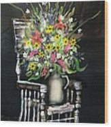 Rocking Chair With Flowers Wood Print by Kendra Sorum