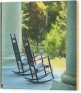 Rocking Chairs And Columns Wood Print