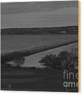 Rockland Breakwater Lighthouse  - Black And White Wood Print