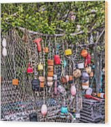 Rockport Fishing Net And Buoys Wood Print