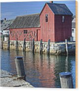 Rockport Fishing Village Wood Print