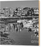 Rockport Harbor - Bw Wood Print