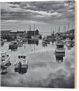 Rockport Harbor View - Bw Wood Print