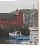 Rockport Inner Harbor With Lobster Fleet And Motif No.1 Wood Print