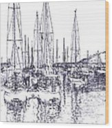 Rockport Sailboats - Photo Shetch Wood Print