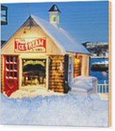 Rockport Winter Wood Print