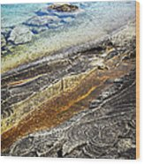 Rocks And Clear Water Abstract Wood Print by Elena Elisseeva