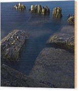 Rocks And Posts Wood Print