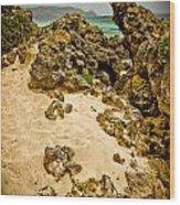 Rocks And Sand Of Elafonisi Wood Print