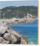 Rocks And Sea Wood Print