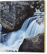 Rocks And Waterfall Wood Print by Adam LeCroy