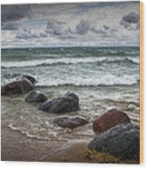 Rocks And Waves At Wilderness Park In Sturgeon Bay Wood Print