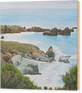 Rocks And Waves - California Coast Wood Print