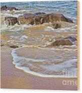 Rocks And Waves Wood Print