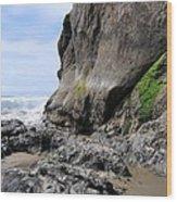 Rocks At Arcadia Beach Wood Print