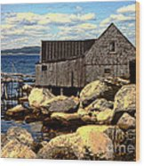 Rocks At Bay In Nova Scotia Wood Print