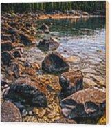 Rocks At Shore Of Georgian Bay Wood Print
