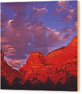 Rocks At Sunset Sedona Az Usa Wood Print