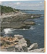 Rocks Below Portland Headlight Lighthouse 2 Wood Print